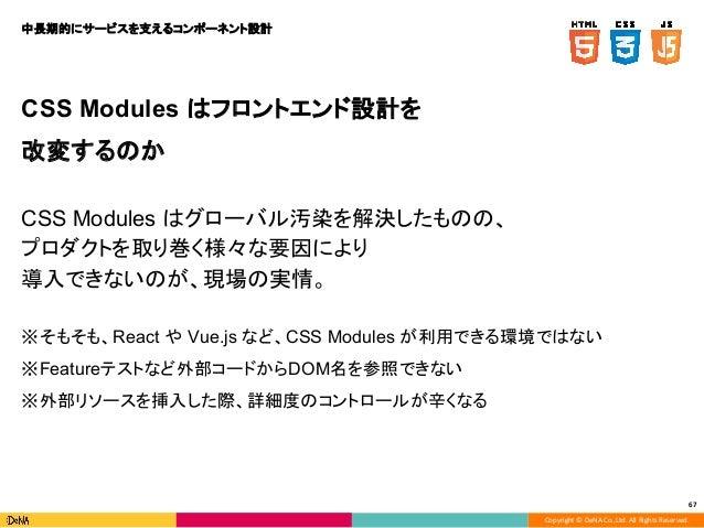 Copyright © DeNA Co.,Ltd. All Rights Reserved. 67 CSS Modules はフロントエンド設計を 改変するのか CSS Modules はグローバル汚染を解決したものの、 プロダクトを取り巻く様...