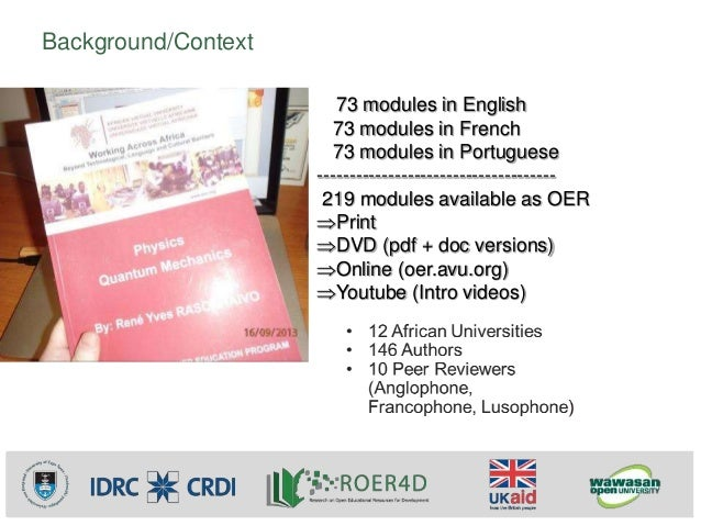 Assessing the impact of access to and availability of OER on the emergence and extent of open education practices in sub-Saharan Africa: The case of an ICT-integrated multinational teacher education program in math and science Slide 3