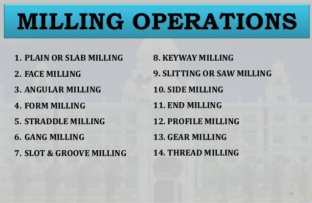 1 Milling And Drilling Operations