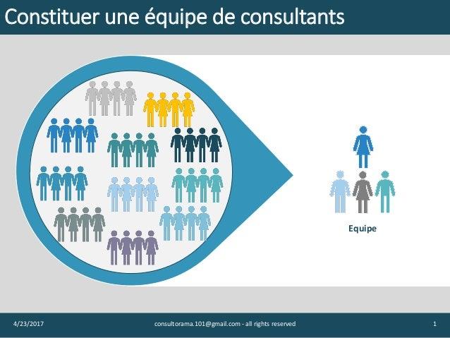 14/23/2017 consultorama.101@gmail.com - all rights reserved Equipe Constituer une équipe de consultants