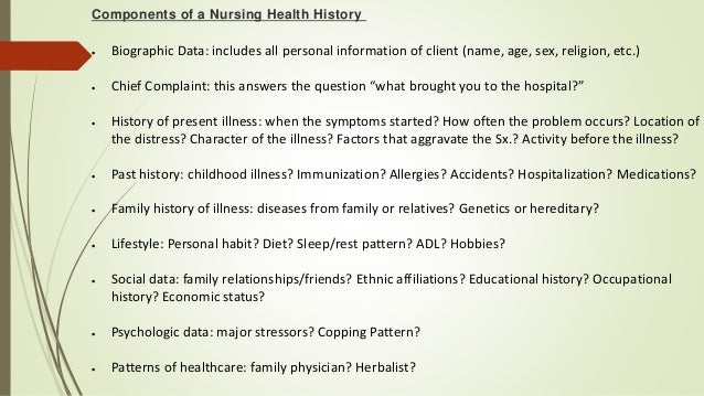 health history for health assessment History [his´to-re] a systematic account of events case history see case history health history a holistic assessment of all factors affecting a patient's health status.