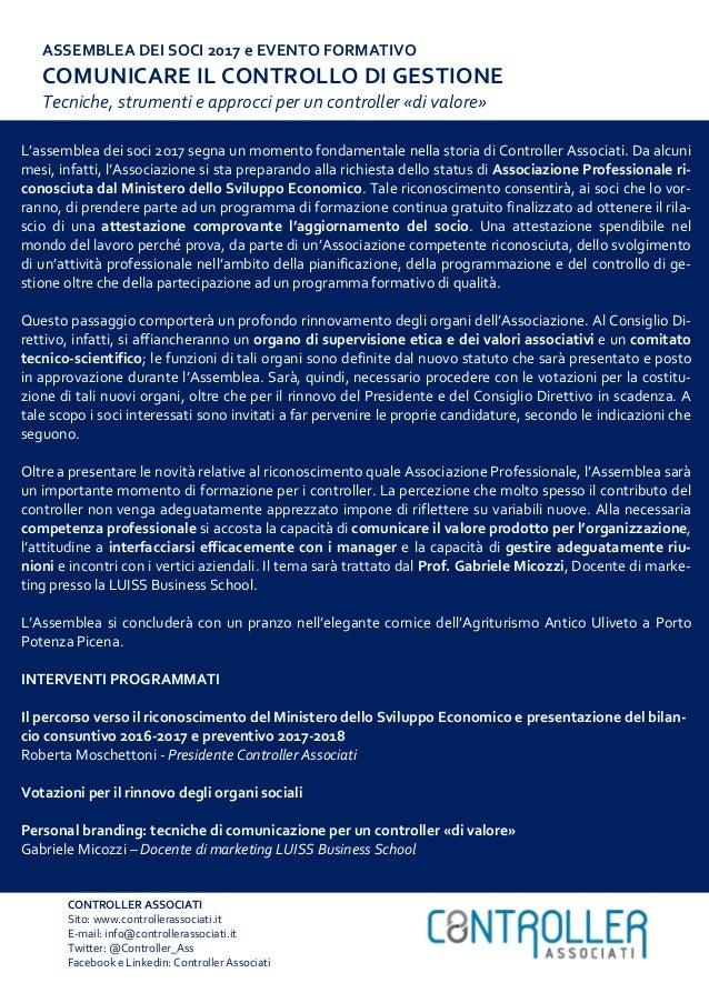 CONTROLLER ASSOCIATI Sito: www.controllerassociati.it E-mail: info@controllerassociati.it Twitter: @Controller_Ass Faceboo...