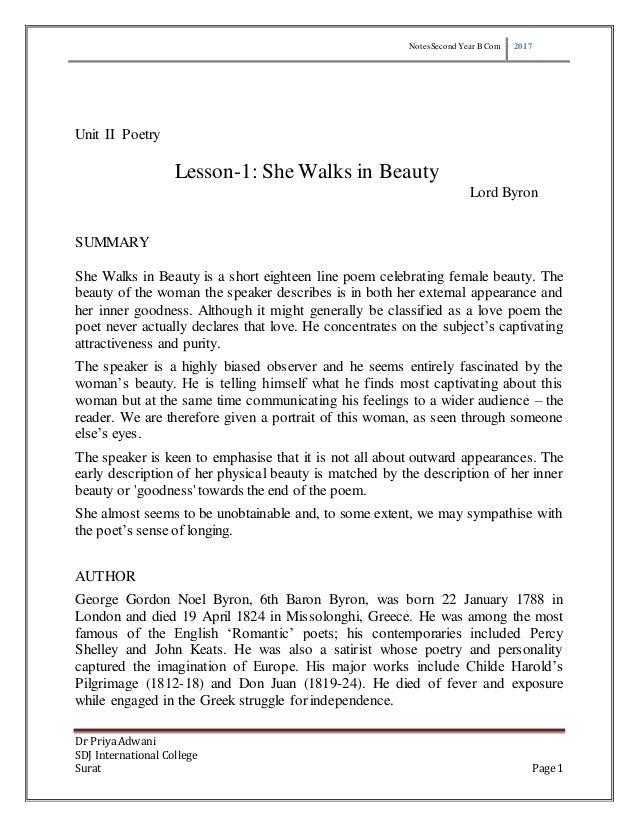 She walks in beauty essay