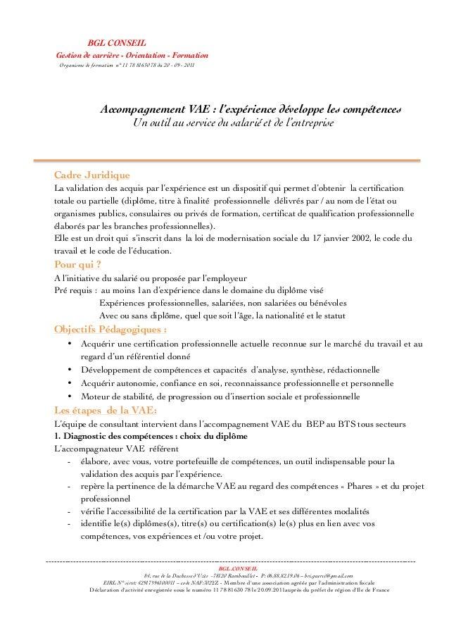 BGL CONSEIL Gestion de carrière - Orientation - Formation Organisme de formation n° 11 78 81630 78 du 20 - 09 - 2011 Cadre...