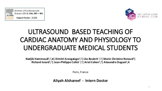 ULTRASOUND BASED TEACHING OF CARDIAC ANATOMY AND PHYSIOLOGY TO UNDER…