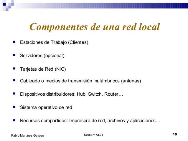 Módulo: AIOT 10Pablo Martínez Gayoso  Estaciones de Trabajo (Clientes) Componentes de una red local  Servidores (opciona...