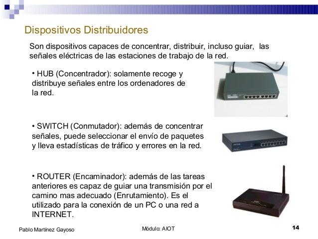 Módulo: AIOT 14Pablo Martínez Gayoso Dispositivos Distribuidores Son dispositivos capaces de concentrar, distribuir, inclu...