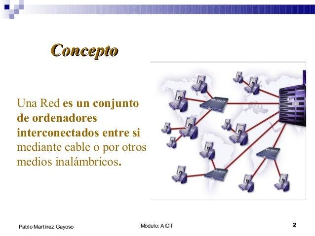Módulo: AIOT 2Pablo Martínez Gayoso Una Red es un conjunto de ordenadores interconectados entre si mediante cable o por ot...