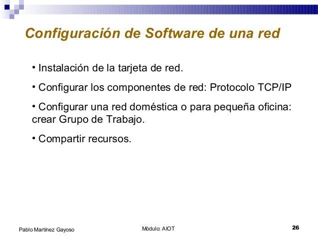 Módulo: AIOT 26Pablo Martínez Gayoso Configuración de Software de una red • Instalación de la tarjeta de red. • Configurar...