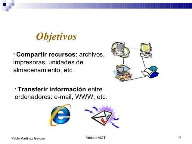 Módulo: AIOT 3Pablo Martínez Gayoso Objetivos • Compartir recursos: archivos, impresoras, unidades de almacenamiento, etc....