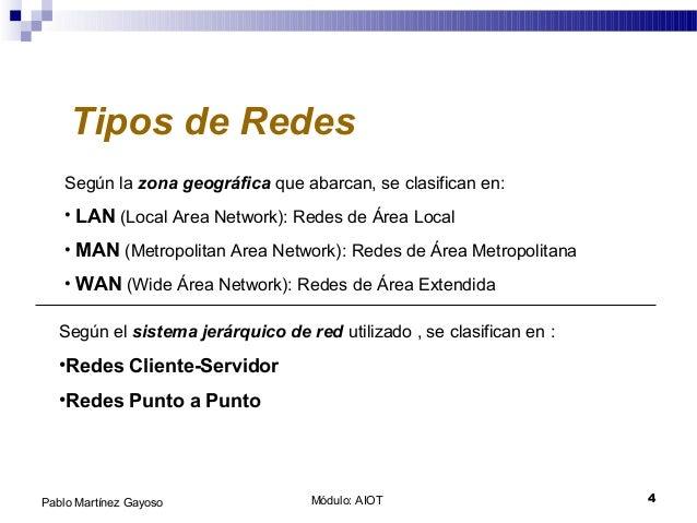 Módulo: AIOT 4Pablo Martínez Gayoso Tipos de Redes Según la zona geográfica que abarcan, se clasifican en: • LAN (Local Ar...