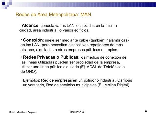 Módulo: AIOT 6Pablo Martínez Gayoso Redes de Área Metropolitana: MAN • Alcance: conecta varias LAN localizadas en la misma...
