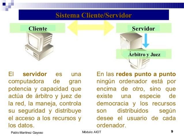 Módulo: AIOT 9Pablo Martínez Gayoso El servidor es una computadora de gran potencia y capacidad que actúa de árbitro y jue...