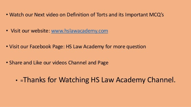 1 0 Meaning Torts & Law of Torts with MCQ's