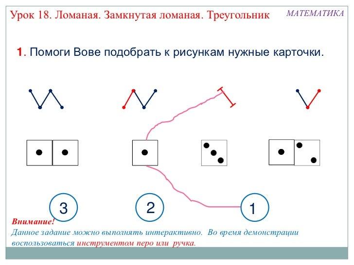 Урок 18. Ломаная. Замкнутая ломаная. Треугольник               МАТЕМАТИКА 1. Помоги Вове подобрать к рисункам нужные карто...