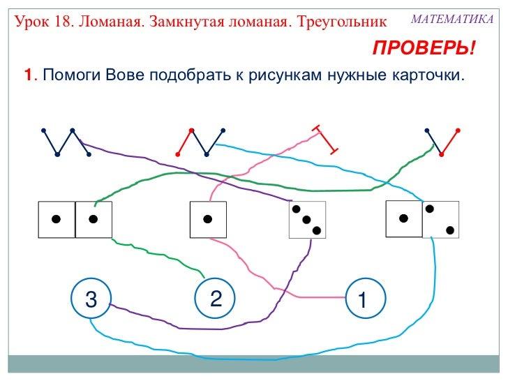 Урок 18. Ломаная. Замкнутая ломаная. Треугольник   МАТЕМАТИКА                                               ПРОВЕРЬ! 1. По...