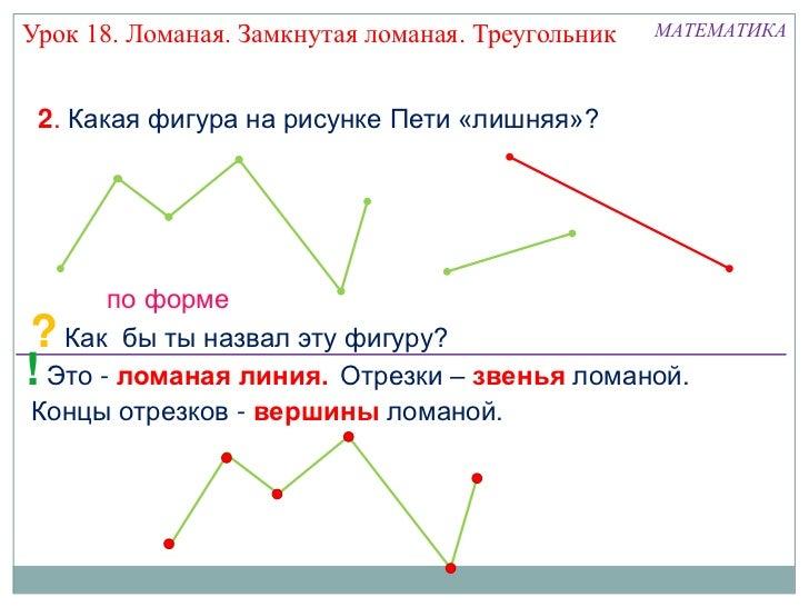 Урок 18. Ломаная. Замкнутая ломаная. Треугольник   МАТЕМАТИКА 2. Какая фигура на рисунке Пети «лишняя»?      по форме? Как...