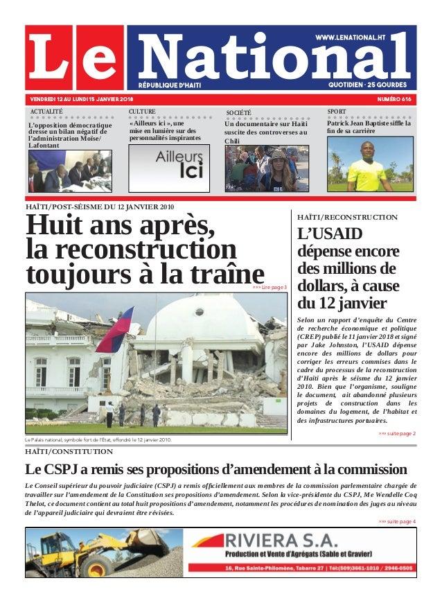 HAÏTI/POST-SÉISME DU 12 JANVIER 2010 Huit ans après, la reconstruction toujours à la traîne Le Palais national, symbole fo...