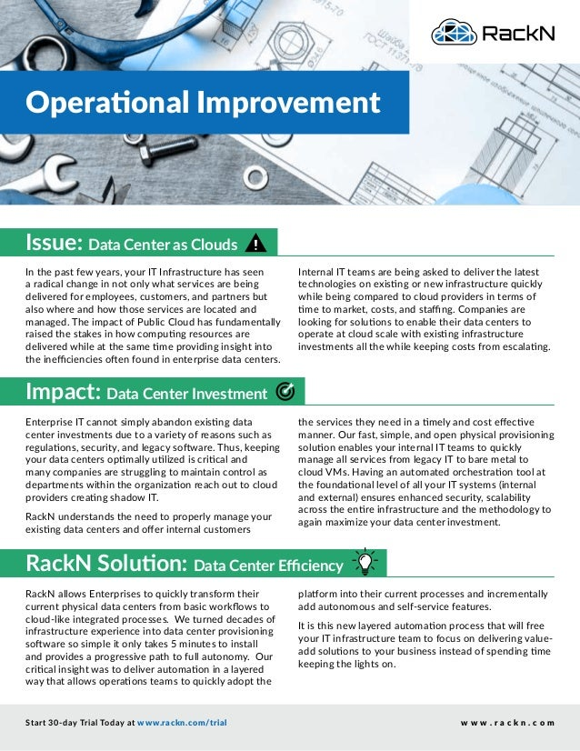Operational Improvement Start 30-day Trial Today at www.rackn.com/trial w w w . r a c k n . c o m RackN allows Enterprises...