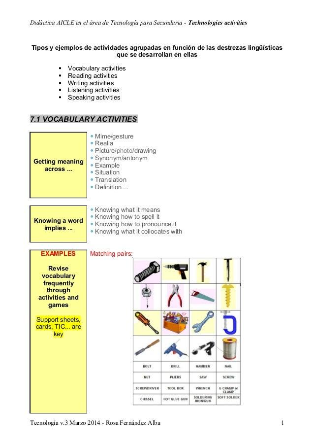 Didáctica AICLE en el área de Tecnología para Secundaria - Technologies activities Tipos y ejemplos de actividades agrupad...