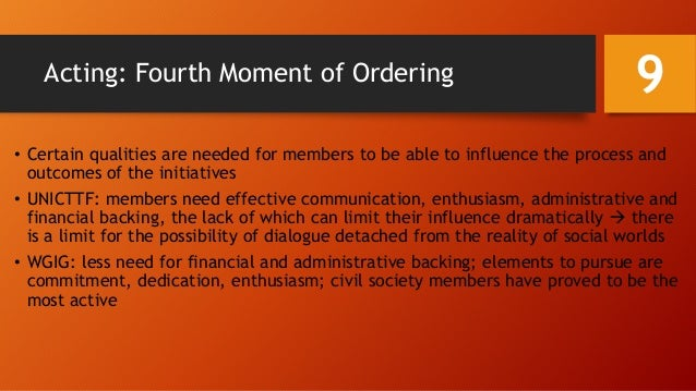 Acting: Fourth Moment of Ordering • Certain qualities are needed for members to be able to influence the process and outco...