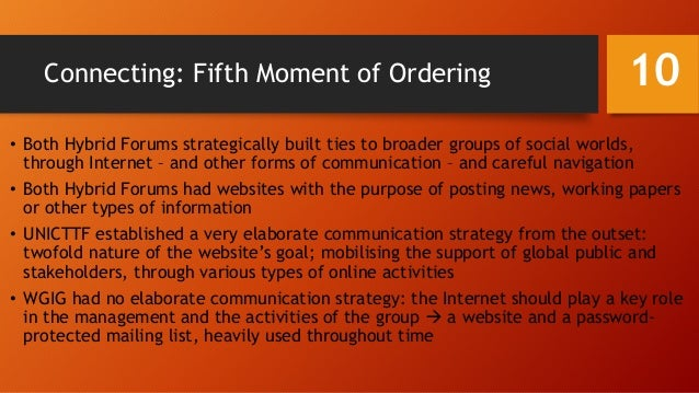 Connecting: Fifth Moment of Ordering • Both Hybrid Forums strategically built ties to broader groups of social worlds, thr...