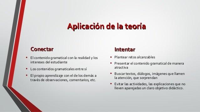 Aplicación de la teoríaAplicación de la teoría ConectarConectar • El contenido gramatical con la realidad y los intereses ...