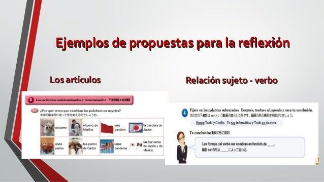 Ejemplos de propuestas para la reflexiónEjemplos de propuestas para la reflexión Los artículosLos artículos Relación sujet...