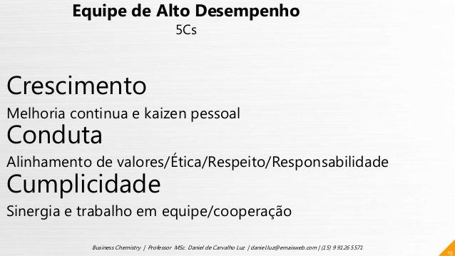 19 Business Chemistry | Professor MSc. Daniel de Carvalho Luz | daniel.luz@emaisweb.com | (15) 9 9126 5571 Equipe de Alto ...