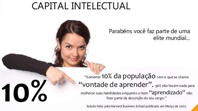 """CAPITAL INTELECTUAL 10% """"Somente 10% da população tem o que se chama """"vontade de aprender"""". 90% não fazem nada para melhor..."""