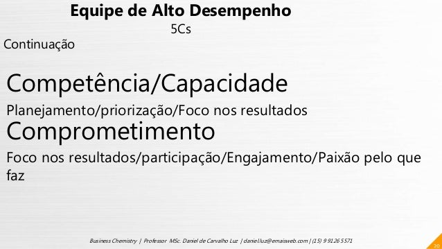 20 Business Chemistry | Professor MSc. Daniel de Carvalho Luz | daniel.luz@emaisweb.com | (15) 9 9126 5571 Equipe de Alto ...