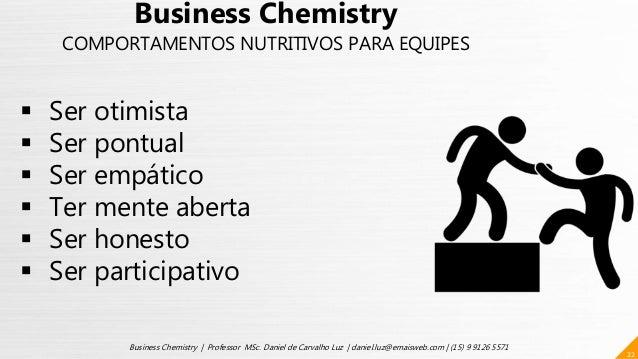 22 Business Chemistry | Professor MSc. Daniel de Carvalho Luz | daniel.luz@emaisweb.com | (15) 9 9126 5571  Ser otimista ...