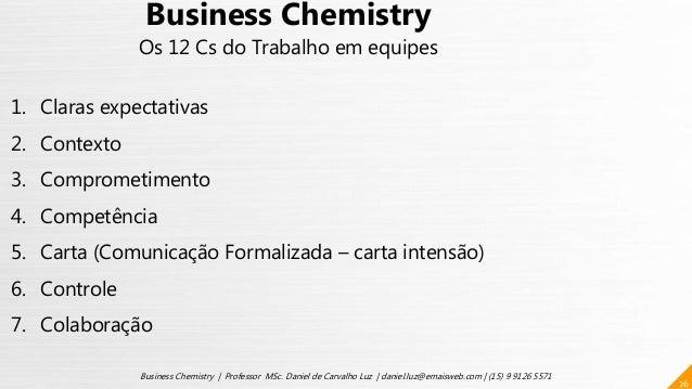 26 Business Chemistry | Professor MSc. Daniel de Carvalho Luz | daniel.luz@emaisweb.com | (15) 9 9126 5571 Business Chemis...