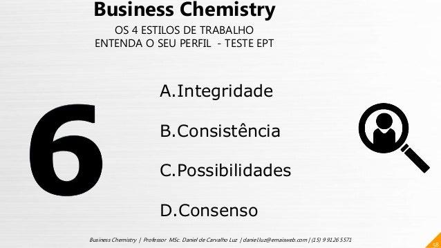 58 Business Chemistry | Professor MSc. Daniel de Carvalho Luz | daniel.luz@emaisweb.com | (15) 9 9126 5571 Business Chemis...