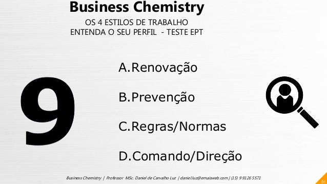 61 Business Chemistry | Professor MSc. Daniel de Carvalho Luz | daniel.luz@emaisweb.com | (15) 9 9126 5571 Business Chemis...