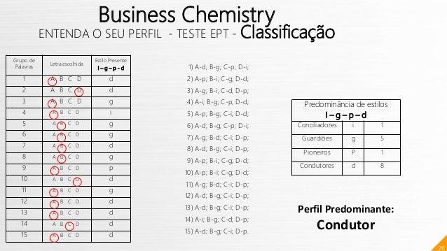 70 Business Chemistry ENTENDA O SEU PERFIL - TESTE EPT - Classificação Predominância de estilos I – g – p – d Conciliadore...