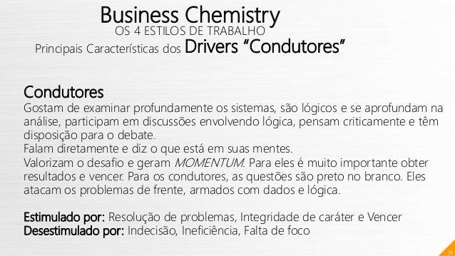 """71 Business Chemistry OS 4 ESTILOS DE TRABALHO Principais Características dos Drivers """"Condutores"""" Condutores Gostam de ex..."""