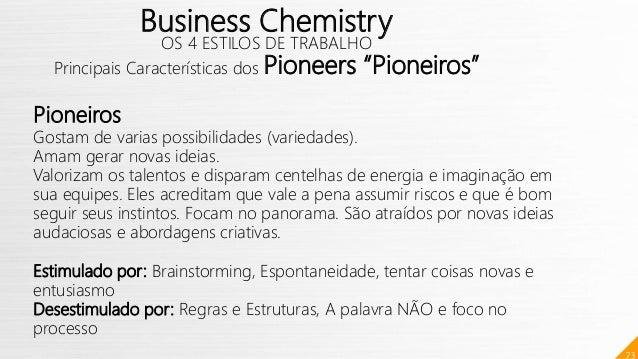 """73 Business Chemistry OS 4 ESTILOS DE TRABALHO Principais Características dos Pioneers """"Pioneiros"""" Pioneiros Gostam de var..."""