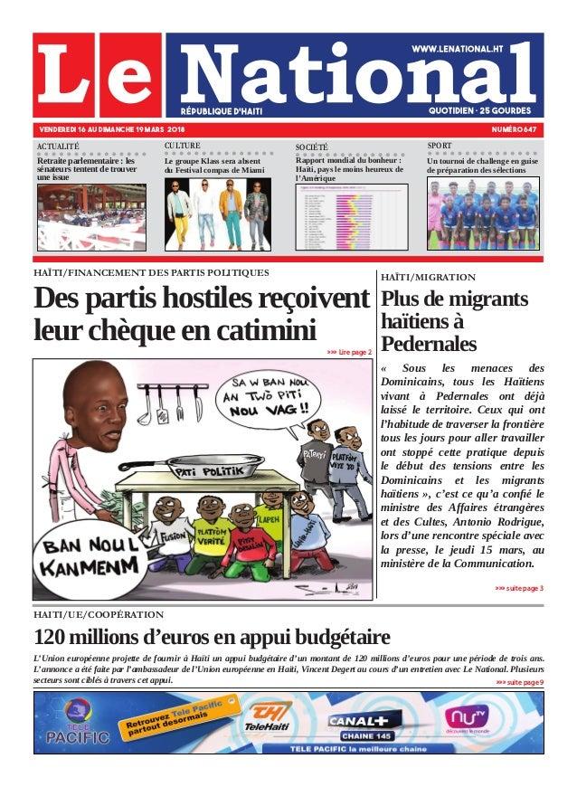 HAITI/UE/COOPÉRATION 120 millions d'euros en appui budgétaire L'Union européenne projette de fournir à Haïti un appui budg...