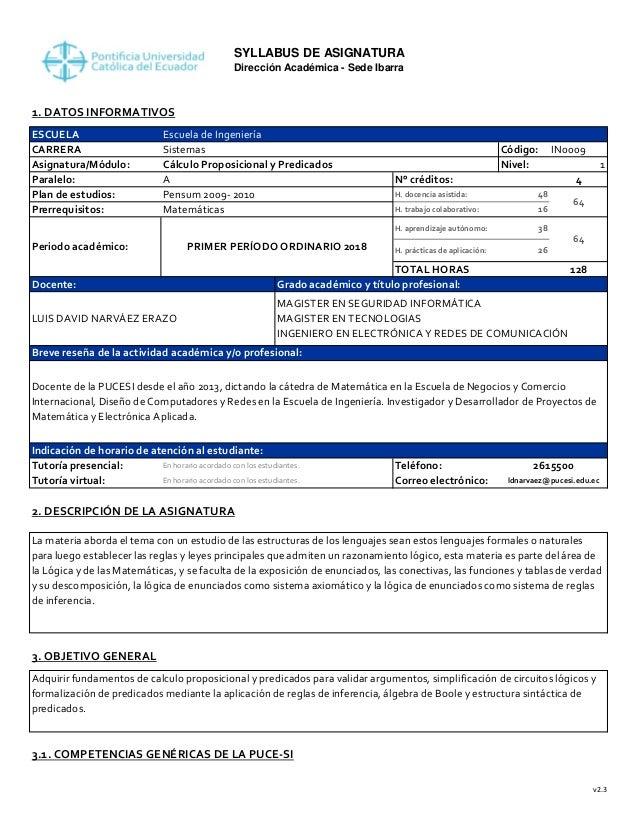 SYLLABUS DE ASIGNATURA Direcci�n Acad�mica - Sede Ibarra 1. DATOS INFORMATIVOS ESCUELA CARRERA C�digo: IN0009 Asignatura/M...