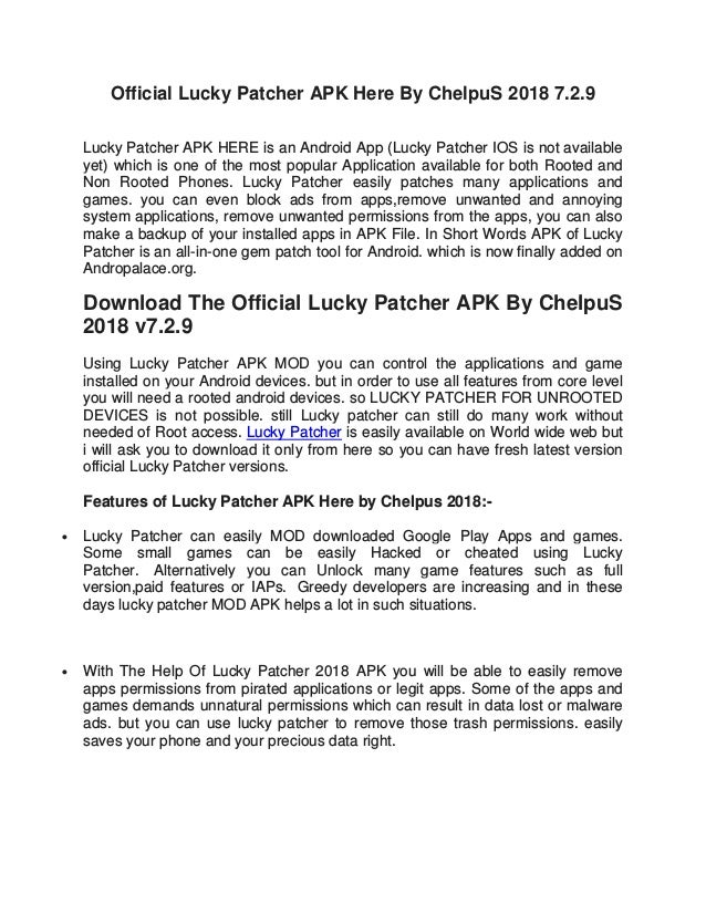 Official Lucky Patcher APK Here By ChelpuS 2018 7 2 9