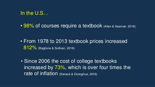 • From 1978 to 2013 textbook prices increased 812% (Baglione & Sullivan, 2016) • Since 2006 the cost of college textbooks ...