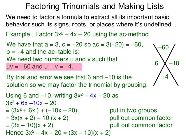 1 0 factoring trinomials the ac method and making lists t