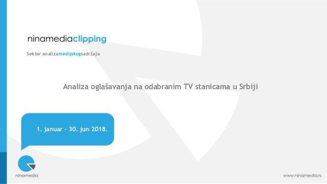 1. januar – 30. jun 2018. Sektor analizamedijskogsadržaja Analiza oglašavanja na odabranim TV stanicama u Srbiji