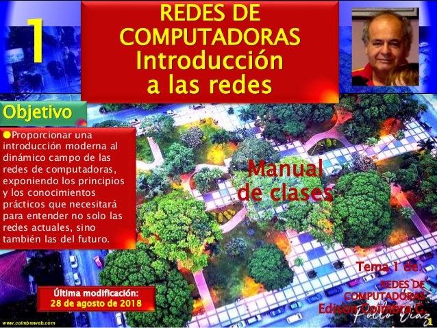 1 1www.coimbraweb.com Edison Coimbra G. Manual de clases Última modificación: 28 de agosto de 2018 Tema 1 de: REDES DE COM...