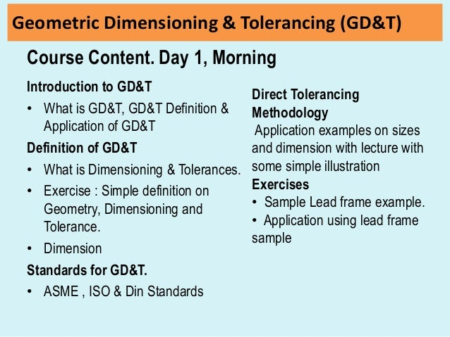 Geometrical Dimensioning Tolerancing Gdt Course Day1