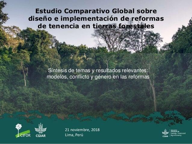 Estudio Comparativo Global sobre diseño e implementación de reformas de tenencia en tierras forestales Síntesis de temas y...