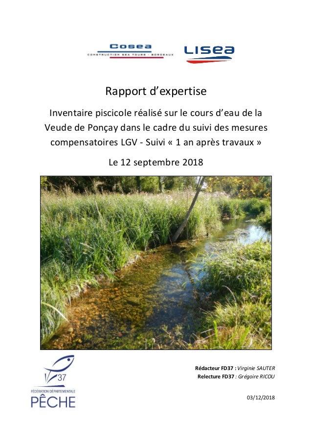 Rapport d'expertise Inventaire piscicole réalisé sur le cours d'eau de la Veude de Ponçay dans le cadre du suivi des mesur...