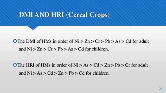 DMI AND HRI (Cereal Crops) 21 The DMI of HMs in order of Ni > Zn > Cr > Pb > As > Cd for adult and Ni > Zn > Cr > Pb > As...