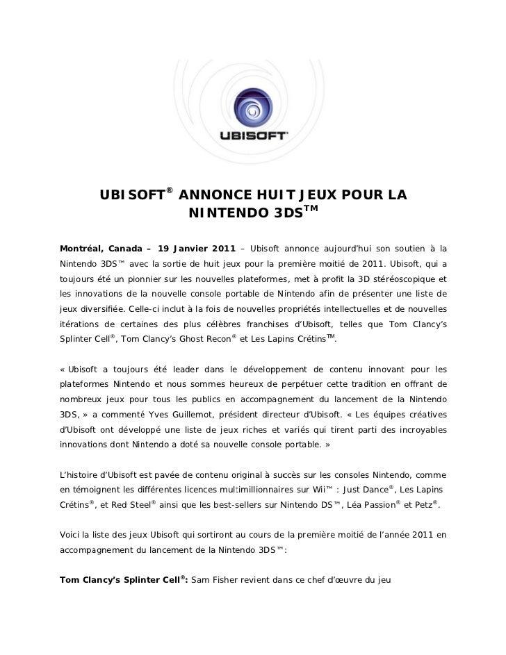 UBISO ® ANNONC HUI JEUX POUR LA              OFT       CE   IT    X R                                TM                   ...